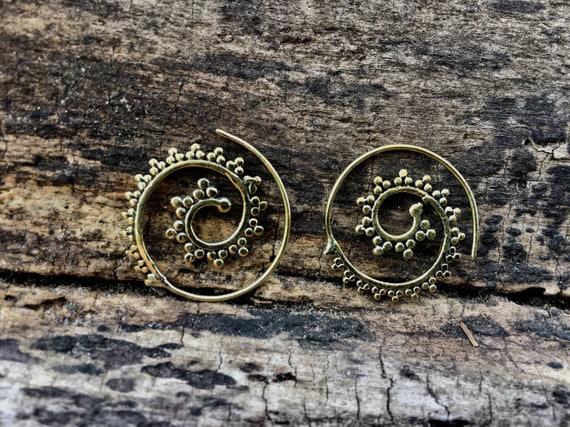 "Boho Spiral Earrings ""Delicate Curl"" Brass Small"