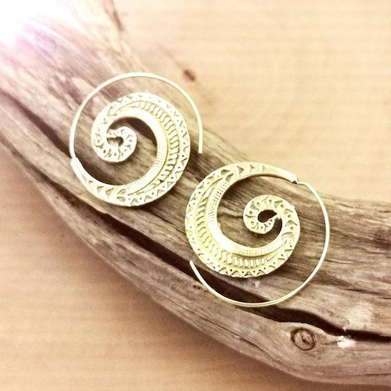 Golden Ethnic Curl Boho Spiral Earrings