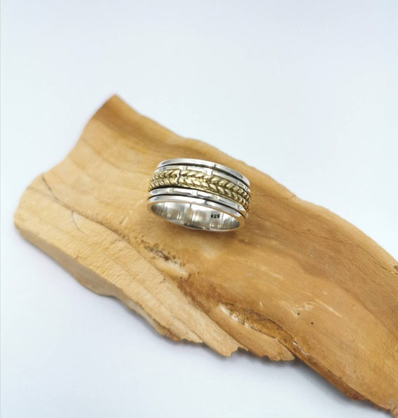 925 Silver Spinning Ring with Twisted Brass Center, Meditation Ring, Relaxation Ring