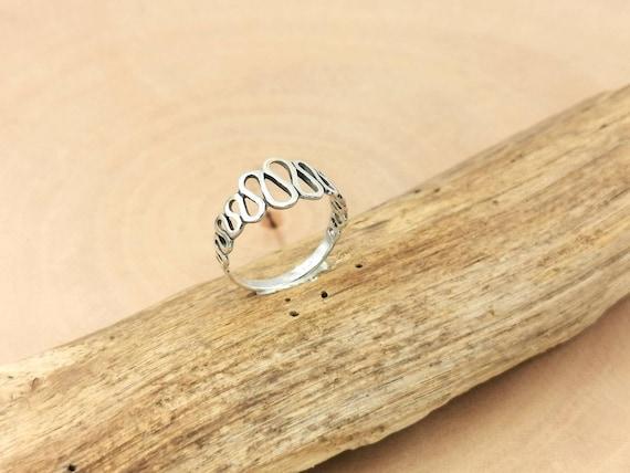 Wavy Pattern 925 Silver Ring