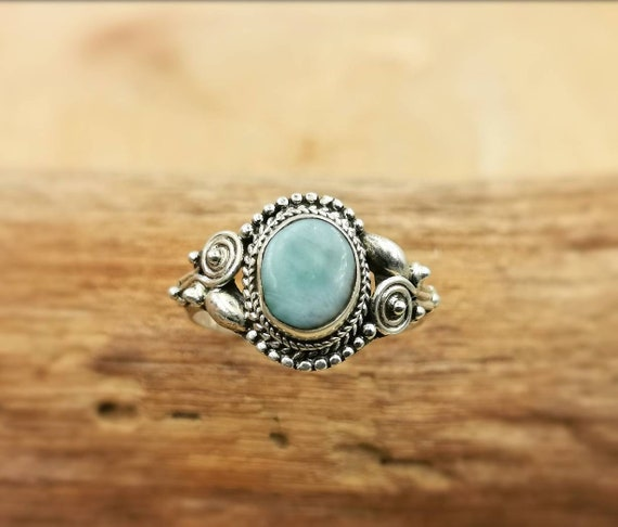 Classic 925 Silver Boho Ring with Stone and Detailed Handwork, Larimar/ Gold Rutile/ Labradorite/Rainbow Moonstone