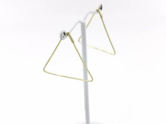 Minimalist Triangle Hoops Brass