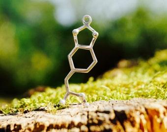 MDMA Necklace Brass/ Silver Plated, Big MDMA Necklace, Molecular Structure Pendant, Molecular Jewelry