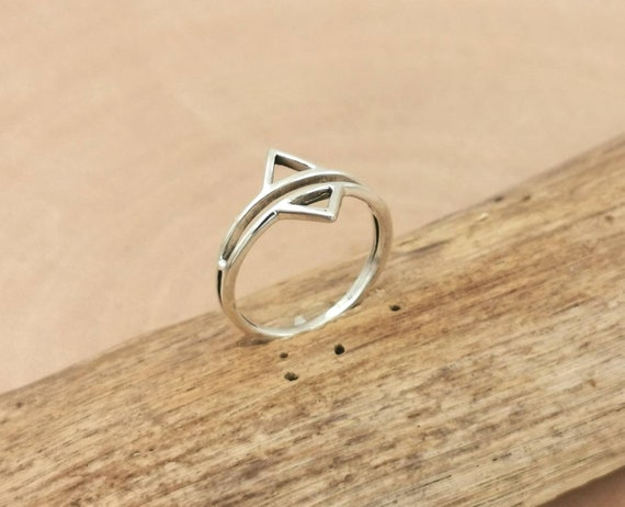 Double Triangle Ring 925 Silver, Chevron Ring, Arrow Ring
