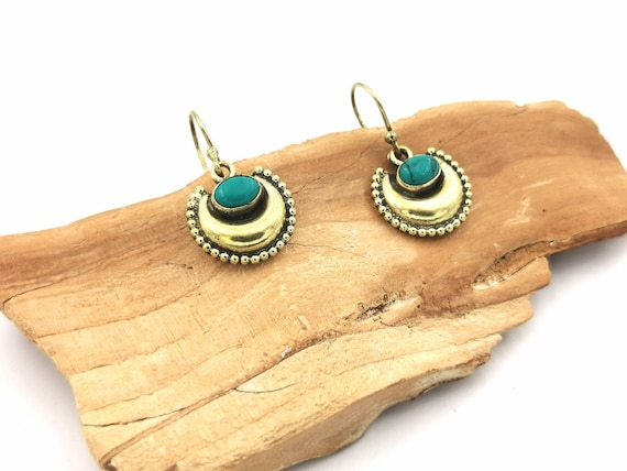 Classic Boho Halfmoon Earrings with Turquoise