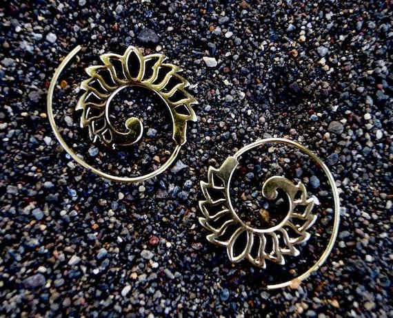 """Boho Spiral Earrings """"Fire Flower"""" Brass"""