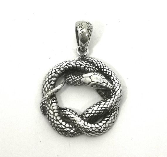 Ouroboros 925 Silver Pendant, Snake Pendant, Snake Silver Pendant with Chain