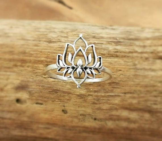Detailed Lotus Flower Ring 925 Silver, Buddhist Ring, Spiritual Ring, Flower Ring