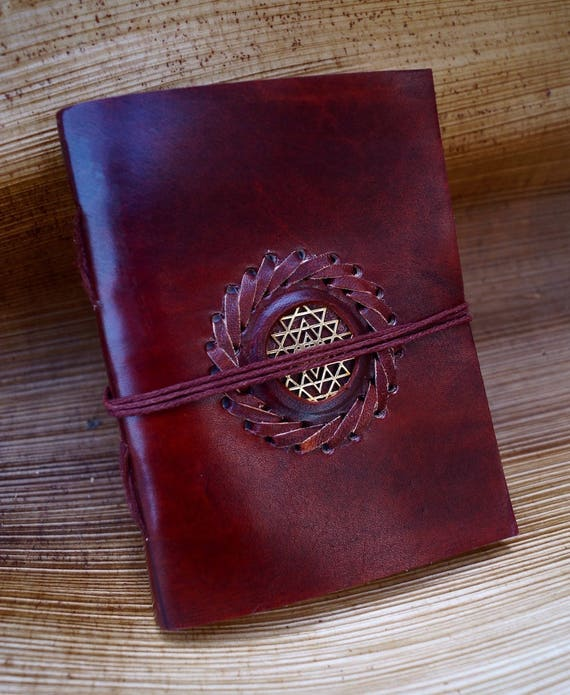 Handmade Camel Leather Notebook Sri Yantra, 4,5x6 Inches