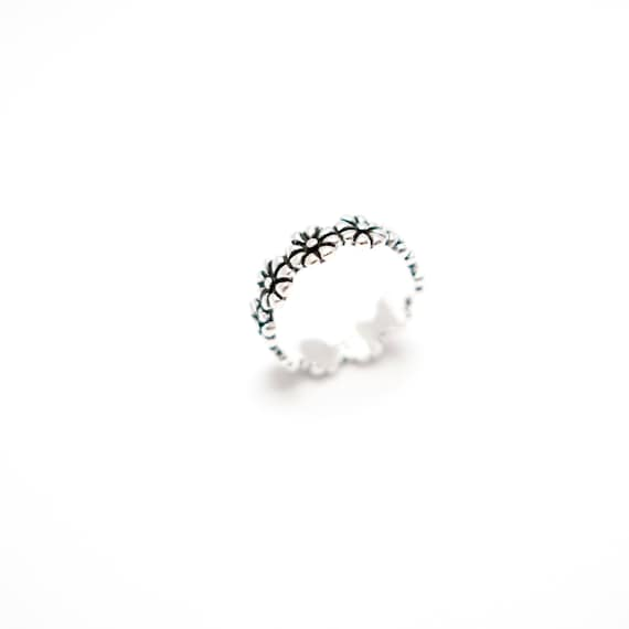 Flower Pattern 925 Silver Ring
