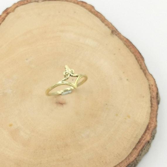 Golden Crown Dainty Ring