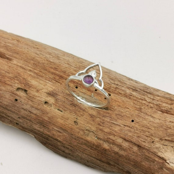 925 Silver V-Shaped Boho Ring with Stone, Oriental V Ring with Rainbow Moonstone,