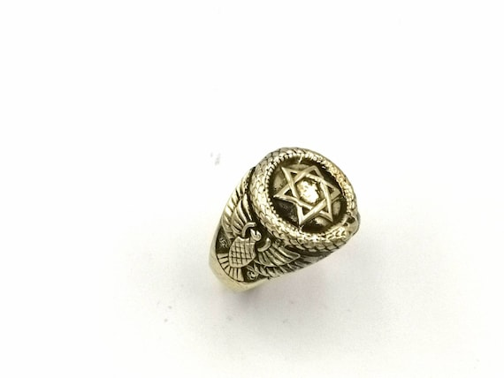 Golden Fraternity Ring with Ouroboros and Star of David, Signet Ring Brass