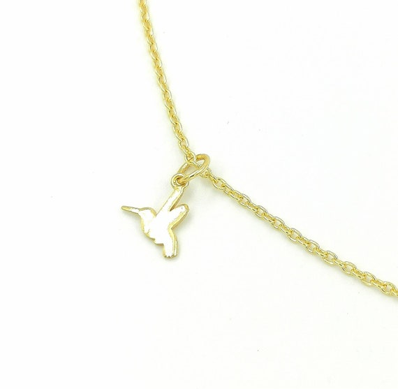 Kingfisher Pendant 925 Silver 18K Gold Plated, Tiny Kingfisher Pendant, Golden Bird Pendant, Ice Bird Pendant, Bird Charm