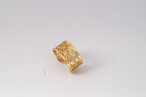Flower of life Ring Men, 925 Silver/ Gold Plated, Wide Flower of Life Ring, Adjustable Flower of Life Ring