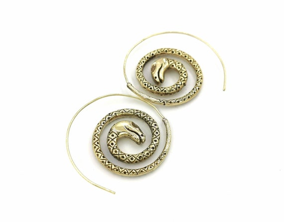 Curled Snake Spiral Earrings Brass, Boho Snake Earrings