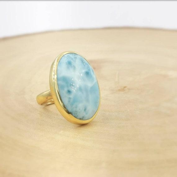 Large Oval 18k Gold Plated Larimar Ring, Adjustable Larimar Gold Ring