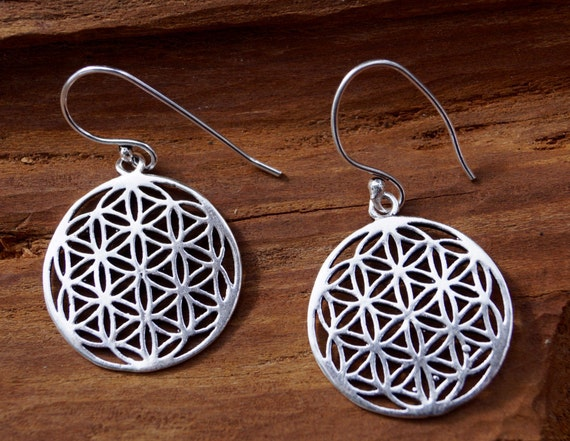 Flower of Life Earrings Silver Coated Small