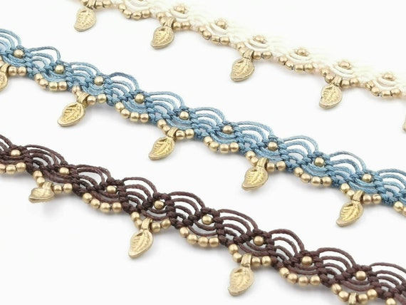 "Macrame Anklet ""Leaf"" with Brass Beads in Different Colors"