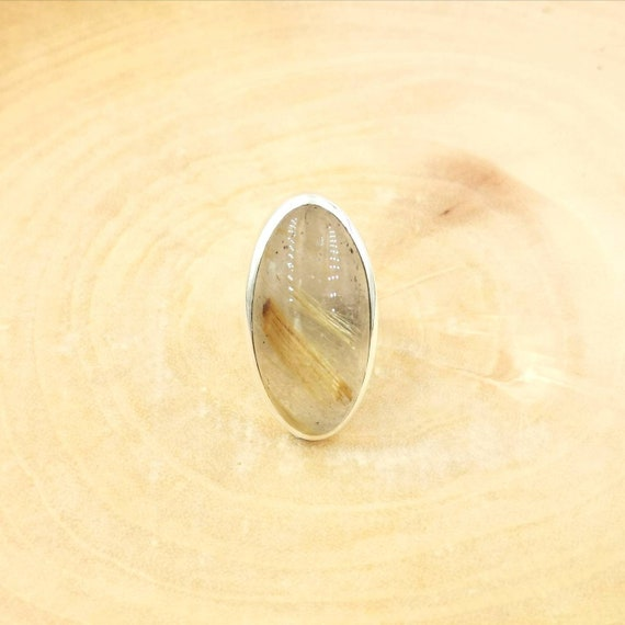 Oval Gold Rutile Quartz Ring 925 Silver Adjustable