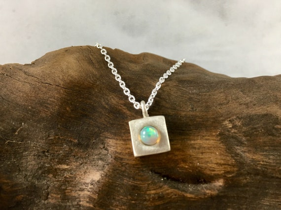 Square Geometric Necklace with Opal or Rainbow Moonstone