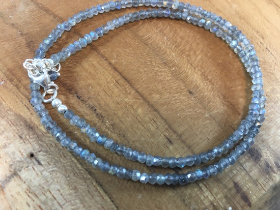 Labradorite silver beaded necklace