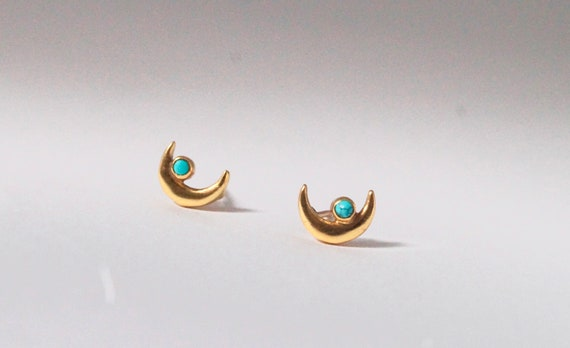 Halfmoon Studs with Turquoise, 925 Silver Gold Plated