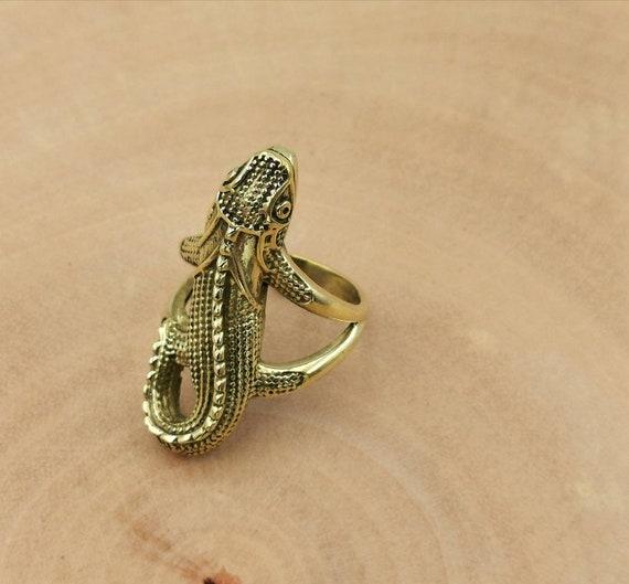 Large Lizard Unisex Brass Ring, Gecko Ring