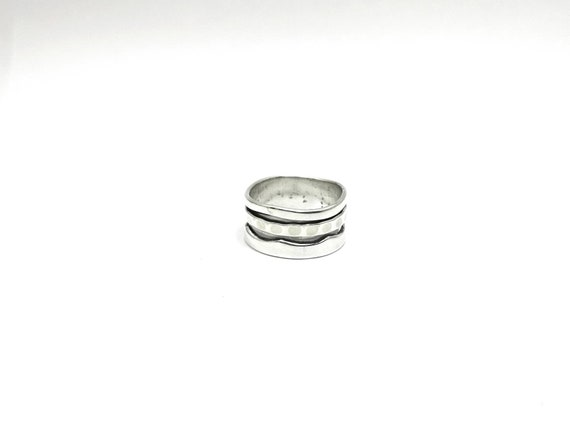 Simple Brutalist Spinning Ring for Men and Women 925 Silver, Meditation Ring, Buddhist Ring, Stress Relieving Ring