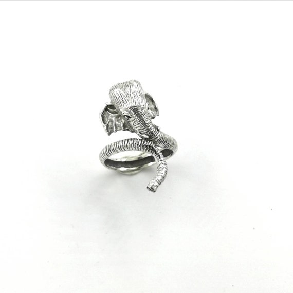 925 Silver Elephant Ring Adjustable, Animal Head Ring, Adjustable Animal Ring