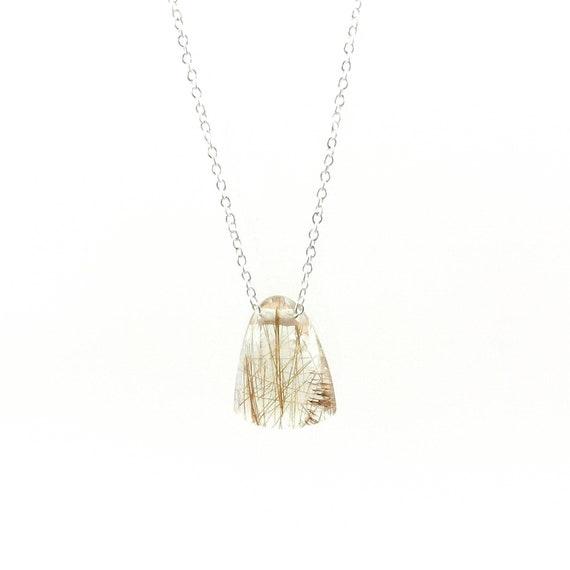 Small Golden Rutilated Quartz Charm Necklace, Minimalist Stone Charm, Elegant Rutilated Quartz Necklace, Drilled Stone with Chain