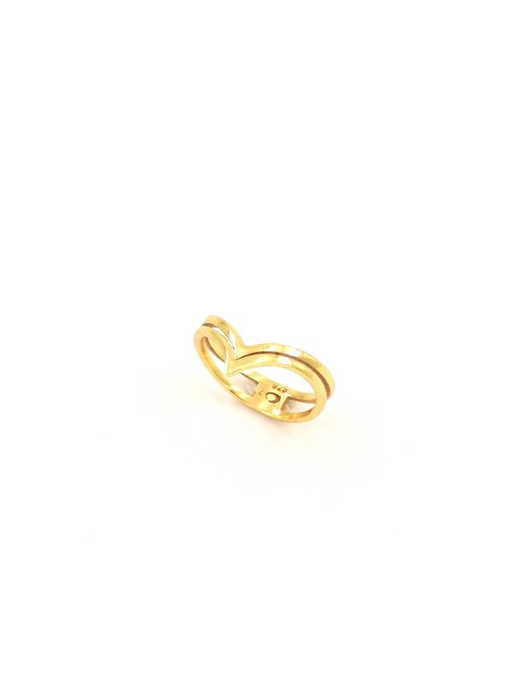 Triangle Double Wave Stackable Ring 925 Silver 18K Gold Plated, Minimalist Wave Ring