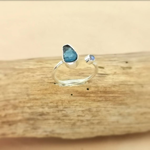 Open Front Raw Stone Ring 925 Silver Apatite and Rainbow Moonstone, Adjustable Ring