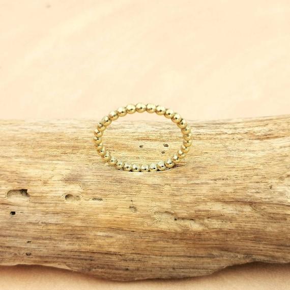 Stackable Brass Ball Ring, Minimalist Ball Ring, Golden Ball Ring