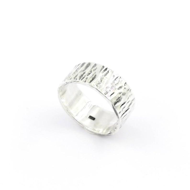 Hammered 925 Silver Ring for Men and Women Brutalist Unisex image 0