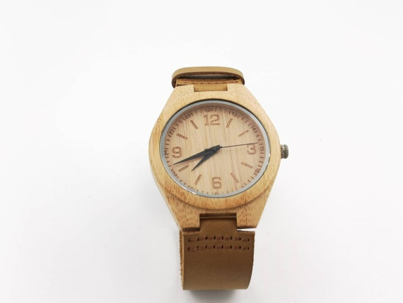 Handmade Bamboo Watch, Wood Watch with Engraved Dial Big Size, Men Watch