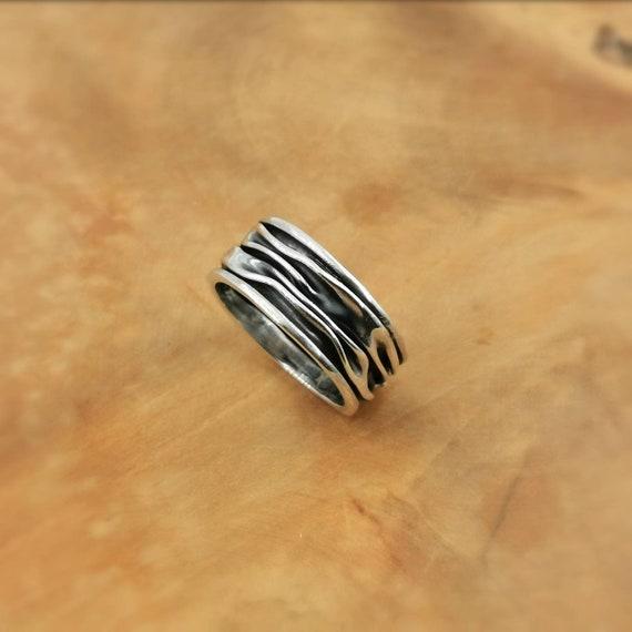 Folded 925 Silver Brutalist Ring, Unisex Brutalist Ring, Wrinkled Ring, Ocean Ring, Wave Ring