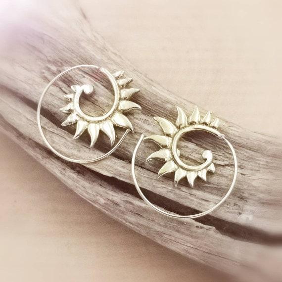 Tiny Wings Boho Spiral Earrings, Golden Spiral Earrings, Brass Boho Earrings