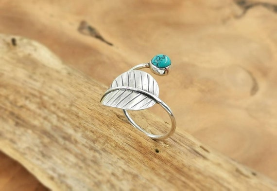925 Silver Leaf Ring with Turquoise