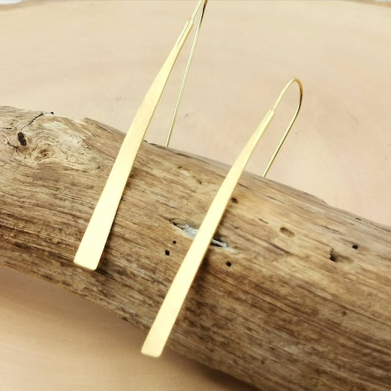 Matte 18K Gold Plated 925 Silver  Hanging Bar Earrings, Minimalist Stick Earrings