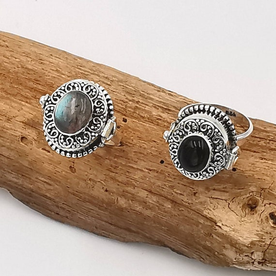 Roman Poison Ring 925 Silver with Stone, Ring with Secret Chamber, Locket Ring