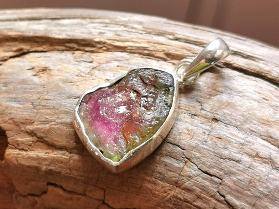 Raw Watermelon Turmaline 925 Silver Pendant with Chain, Natural Watermelon Turmalin Pendant with Irregular Stone Case