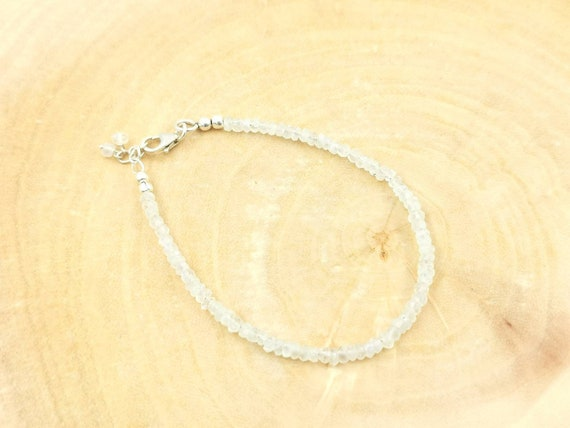 Thin Faceted Rainbow Moonstone Bead Bracelete 925 Silver/18k Gold Plated with Charm