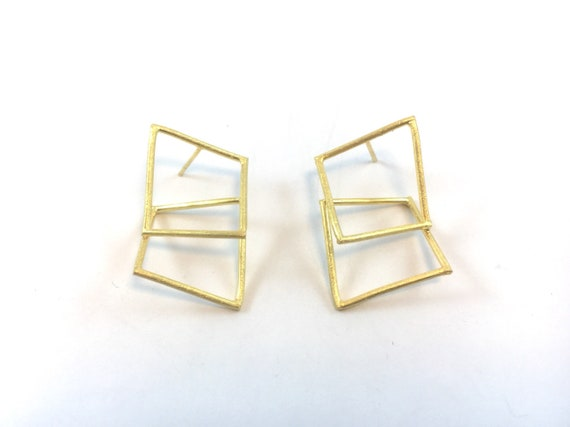 Twisted Body Geometry Studs, 925 Silver Plated with 18k Gold