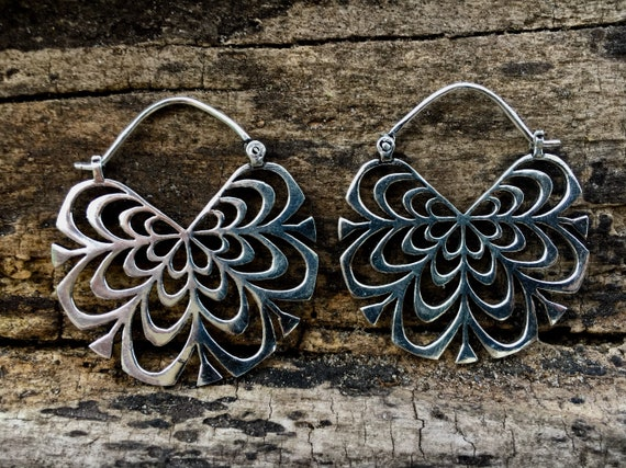 "Boho Hoop Earrings ""Mandala Blossom"" Brass/ Silver Plated"