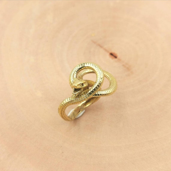 Golden Cleopatra Snake Ring Brass, Egyptian Snake Ring, Three Dimensional Snake Ring