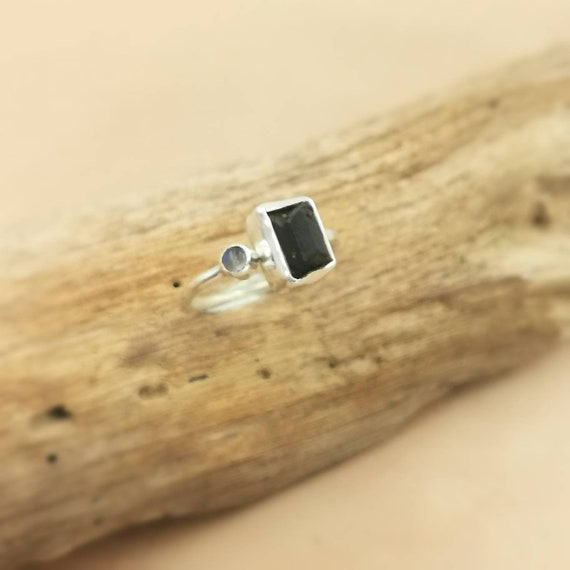 Open Front Raw Stone Ring 925 Silver Black Tourmaline and Rainbow Moonstone, Adjustable Ring