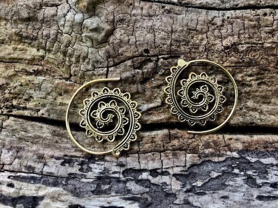 "Boho Spiral Earrings ""Sunflower Curl"" Brass Small"