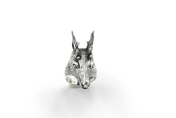 925 Silver Deer Head Ring, Solid Silver Deer Ring, Animal Ring for Men and Women