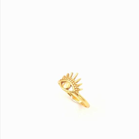 Eye of Ra Ring 925 Silver/18K Gold Plated, Golden Eye Ring